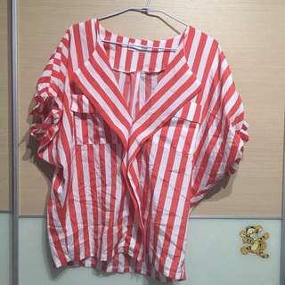橘紅色條紋罩衫