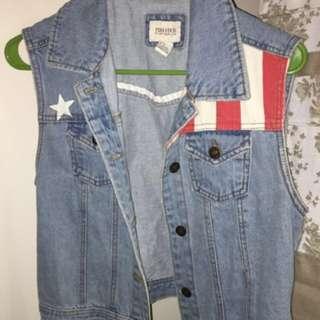 Stars and Stripes Denim Vest Jacket