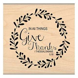 [BRAND NEW] GIVE THANKS SCRIPTURE VERSE RUBBER STAMP