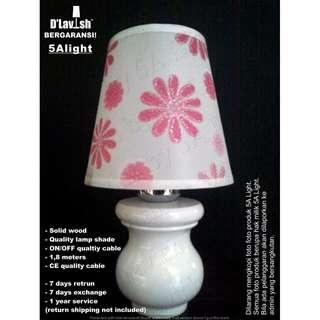 White Mushroom Pink Florish ( Berikut lampu LED E14) - Lampu Meja - Lampu Hias - Lampu Dekorasi
