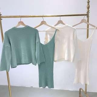 🚚 時尚針織套裝秋季新款長袖寬鬆毛料上衣+高腰顯瘦吊帶連身裙 兩色