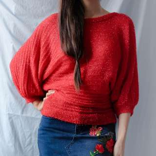 Red textured top