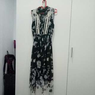 N.y.l.a Dress Satin Black And White Floral