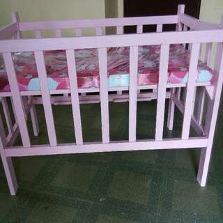 Pink Wooden Crib With Free Hello Kitty Mattress