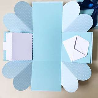 Blank diy blue Explosion box card