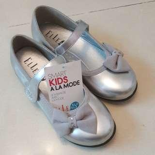 ELLE銀色蝴蝶結公主鞋