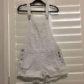 White denim overalls