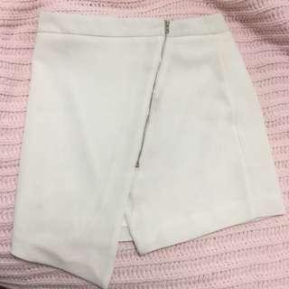 Mossman white zip up skirt