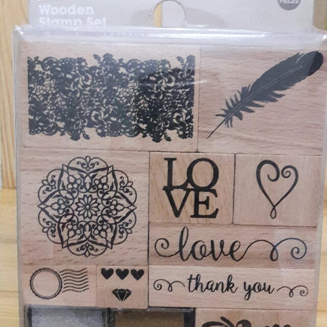 13 in 1 Wooden Stamp Set with ink pad
