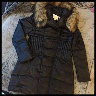 Black Duck Down Detachable Faux Fur Coat Puffer Jacket With Belt