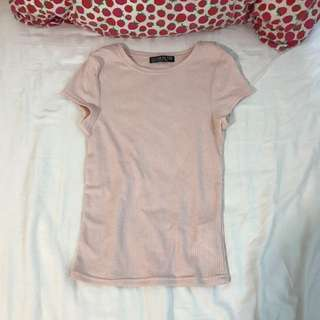 cotton on ribbed baby pink tee