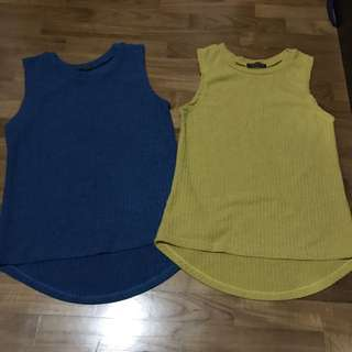 Blue and mustard yellow tops