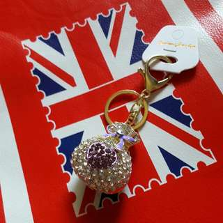 🚚 紫色愛心福袋鑰匙圈吊飾