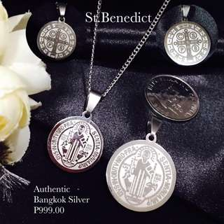 Authentic Bangkok Silver Religious Item St. Benedict Necklace