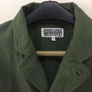 Engineered Garments x The bureau Belfast Olive reversed Sateen Workers Jacket (size s)