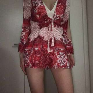 Red/White Open Sleeve Tie Playsuit