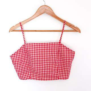Red Gingham Crop