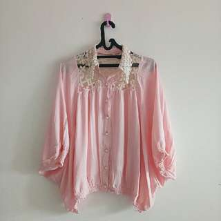 SALE AKHIR TAHUN - BIG SIZE BATWING PINK LACEY LACE OVERSIZED TOP