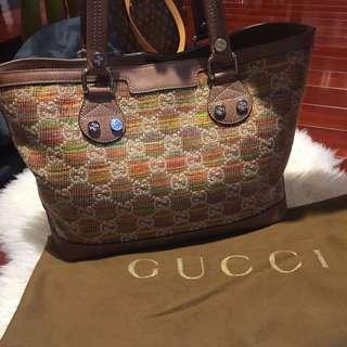 Authentic Gucci Straw Libeccio Monogram Sunset Tote Multicolour