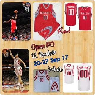 Open PO Jersey Basket Anak2/Dewasa Custom, Rockets MERAH & PUTIH