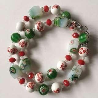 Handmade millefiori bead necklace