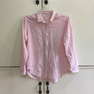 Pink Striped Long Sleeves Polo