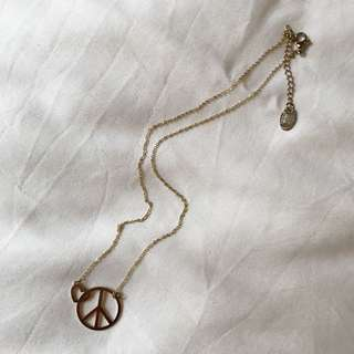 Gold Plated Peace Necklace