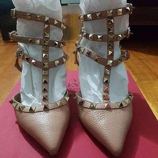 authentic valentino rockstud kitten heels