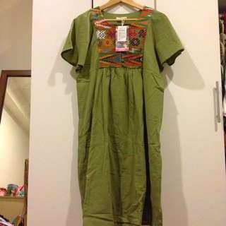 日本『チチカカ』TITICACA 民族風 森林系 刺繡幾何 棉麻連身長洋裝