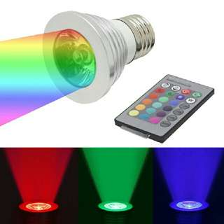 RGB LED Lamp  3W E27 Led 16 Color Bulb Changeable Lamp Multiple Colour with Remote Control Led Lighting