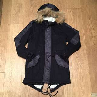 Izzue Navy Blue Long Coat Jacket with Fur Hood