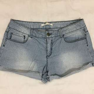 Striped Denim Shorts