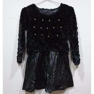 黑色珍珠外刷毛洋裝
