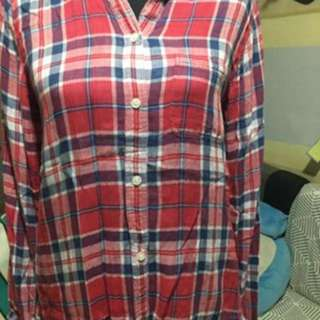 Plaid American Eagle longsleeve polo