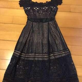 XS Navy Blue Lace Off Shoulder Dress