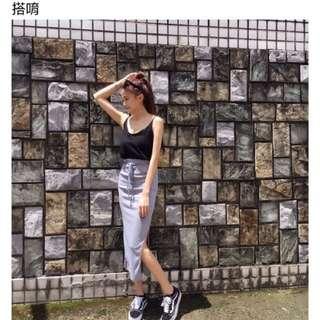 休閒背心+開衩裙一套