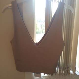 V Neck Nude Crop Top NEW w/ Tags