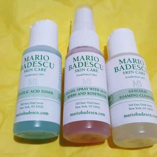 Mario Badescu Glycolic Foaming Cleanser, Glycolic Acid Toner & Glycolic Facial Spray With Aloe Herbs + Rosewater (Travel Sizes) (BRAND NEW & AUTHENTIC)!!!