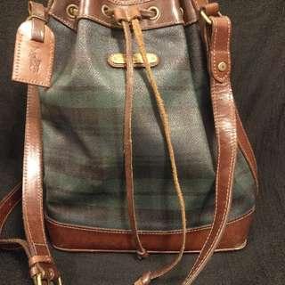 polo   Ralph   Lauren經典綠色格仔水桶長带單肩手袋。❤❤💋😍👍👍👍留意圖4袋底有边磨損,💯real