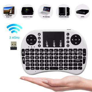 Portable Mini Wireless Keyboard 2.4G with Touchpad & AAA x 2 Batteries for PC, PS3, XBox, Android TV, TV Box -  White