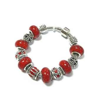 🌼NEKOBABY🌼紅星緬甸石琉璃水鑽金屬工藝球雕刻花寶石夾扣潘朵拉款串珠手鍊