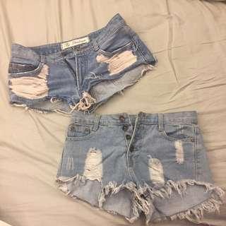 牛仔短褲兩件組