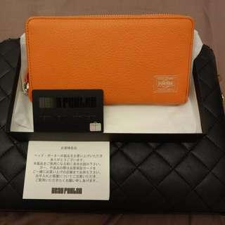 全新日本Head Porter橙色真皮銀包