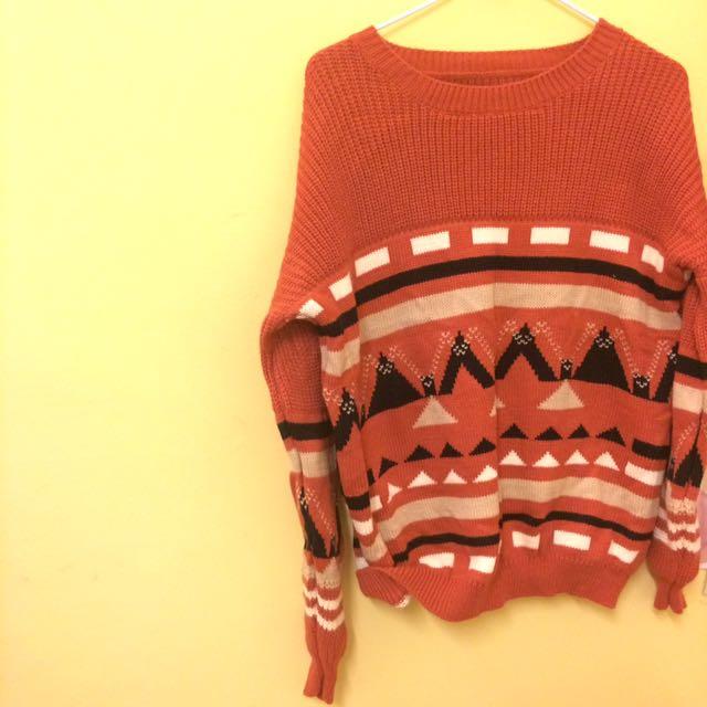 復古磚紅色毛衣