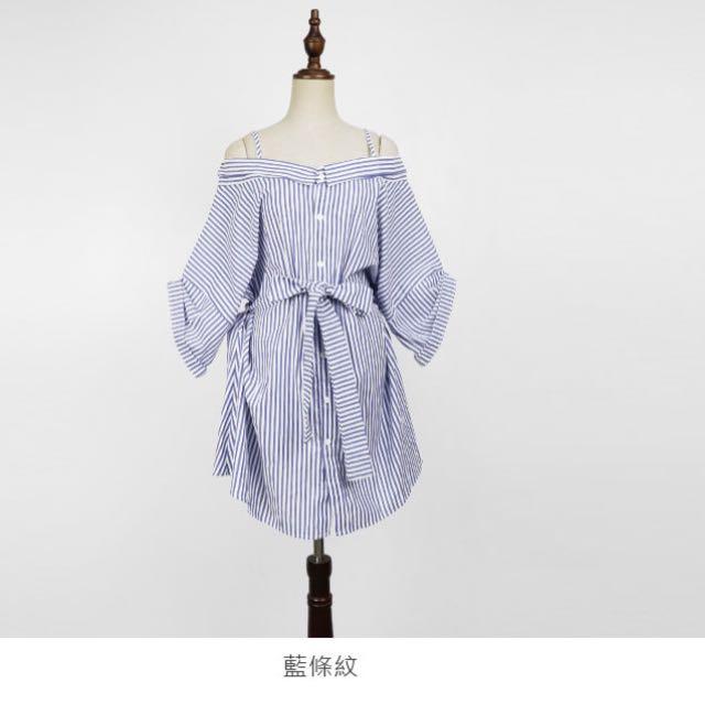 正韓一字領直條紋排釦襯衫洋裝附綁帶