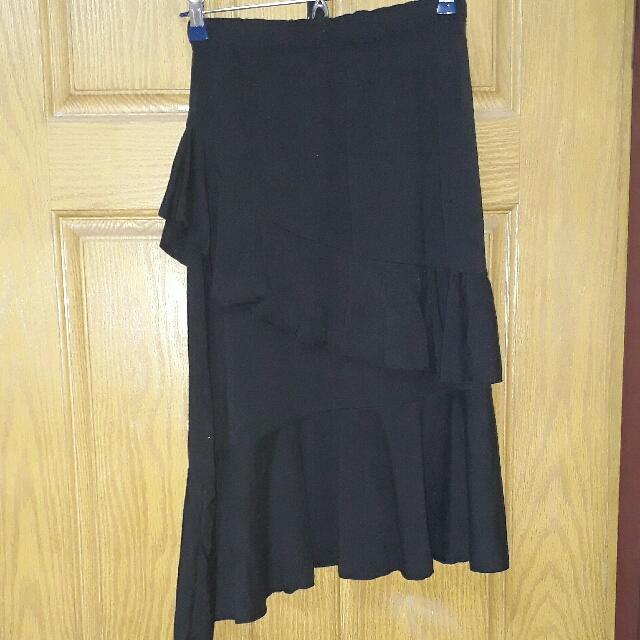 黑色魚尾波浪裙