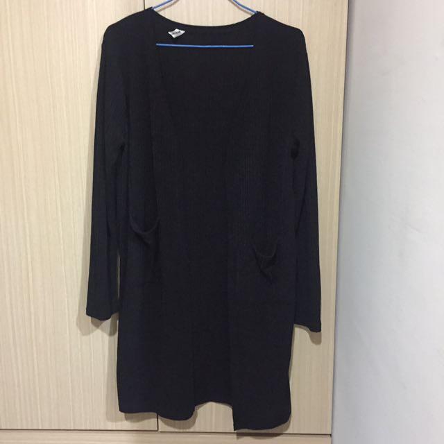 黑色針織開衫外套 針織罩衫