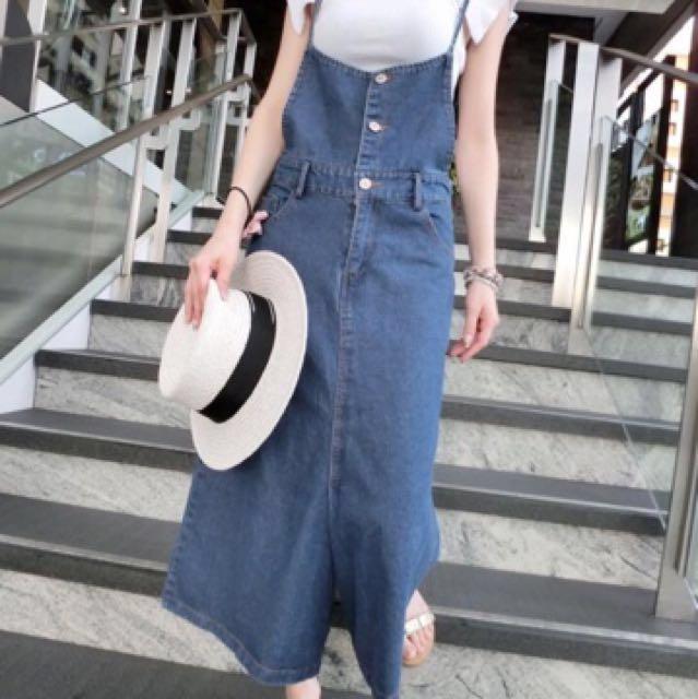 正韓 三釦吊帶牛仔寬褲褲裙