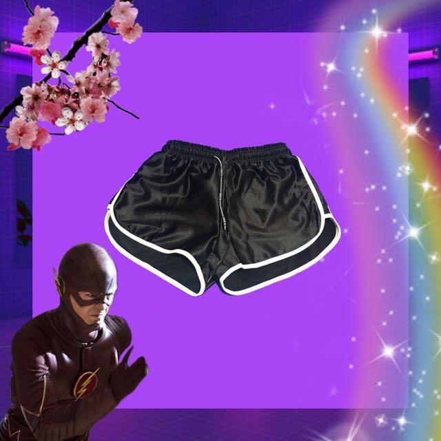 🚧特價🉐️全新緞面綁帶短褲 現貨黑 藍色 全新🏁