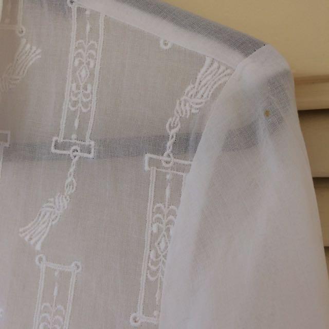 💗 Sheer Long Sleeves White Shirt